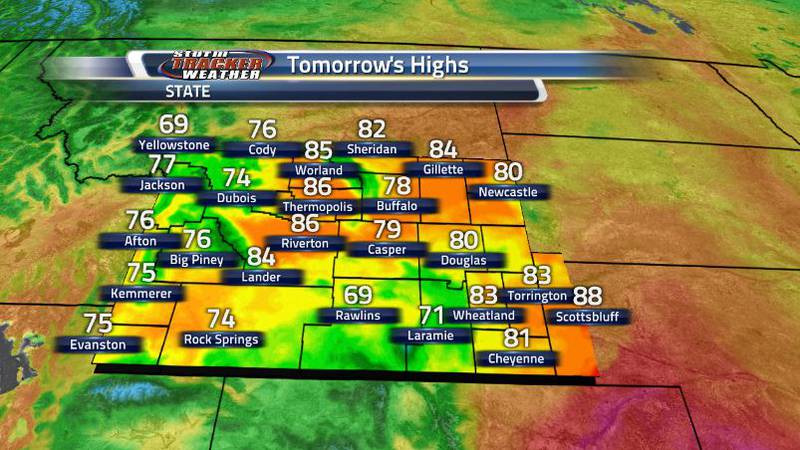 Highs tomorrow will be in the 70s and 80s for most areas with some 60s in the higher...