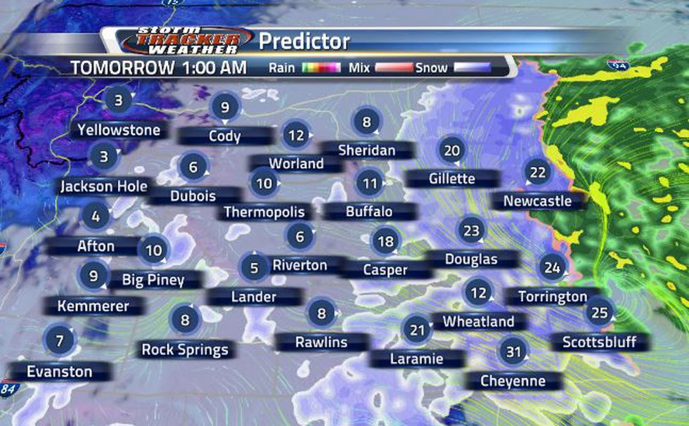 Overnight, snow chances increase for the southeastern corner.