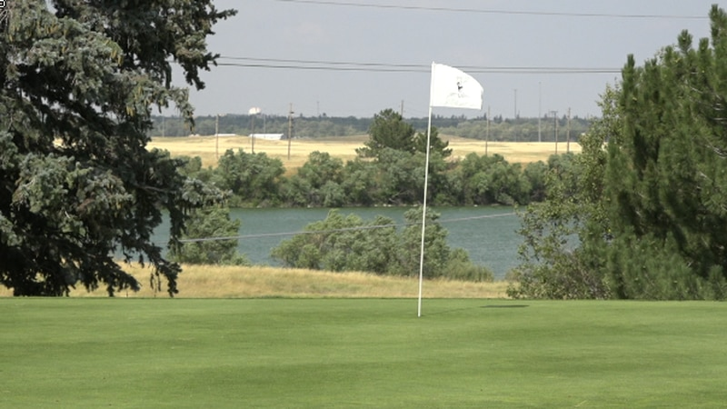 A flag at one of the holes at Little America Resort in Cheyenne, WY