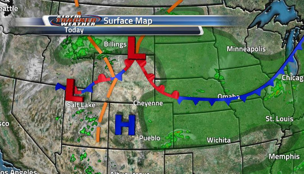 That front from yesterday moved to the north and is now going to be moving south tomorrow...