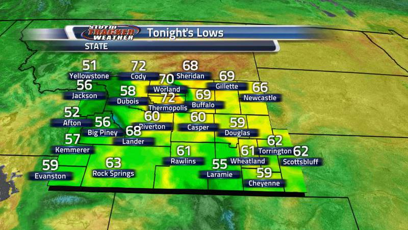 Temperatures will stay warm into the overnight hours as some places will be stuck in the 70s.