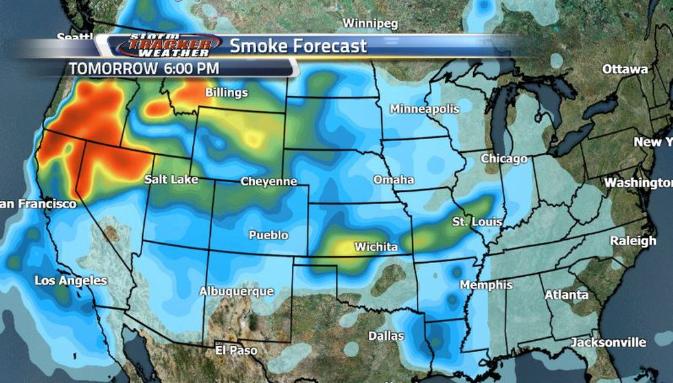 As the front passes through, the smoke will keep coming in from the west, but mostly moving...