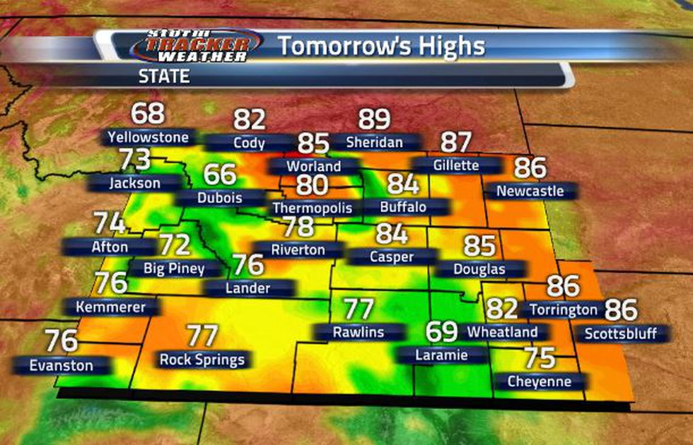 Tomorrow, temperatures will continue cooling down into the 70s and 80s.