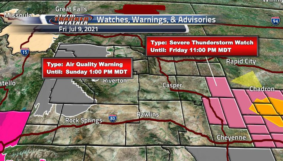 Air quality warnings in effect due to smoke spreading from the Yellowstone wildfire and severe...