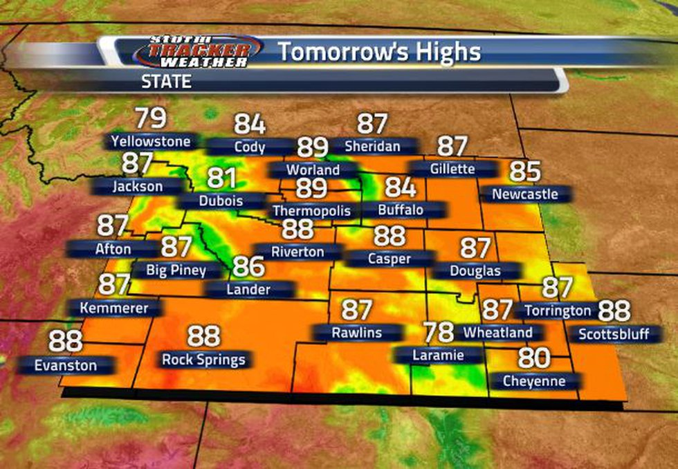 Temperatures will be in the 80s statewide tomorrow.