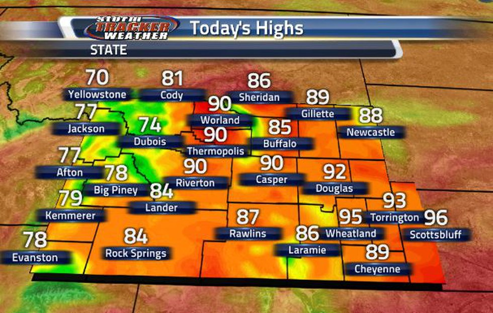 We are much cooler today. High temperatures getting to the low 90s at the maximum.