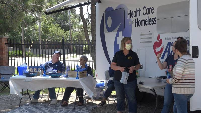 Health Care for the Homeless mobile unit was giving vaccines at the block party