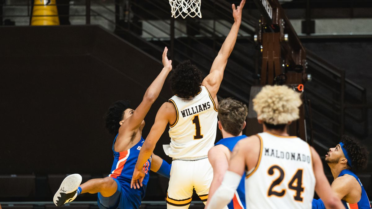 Marcus Williams goes up for a contested layup in Wyoming's 83-60 loss to Boise State