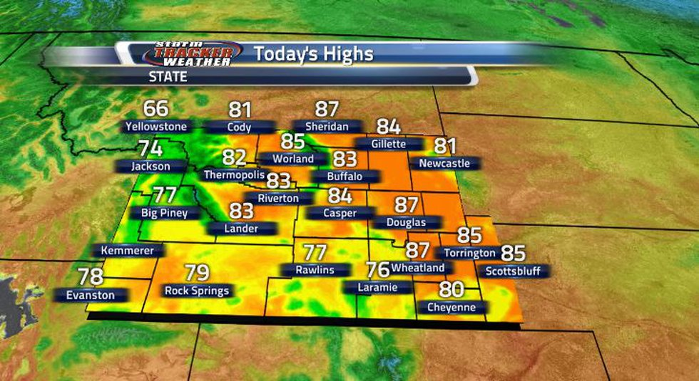 Today's highs are a little cooler than they were yesterday.