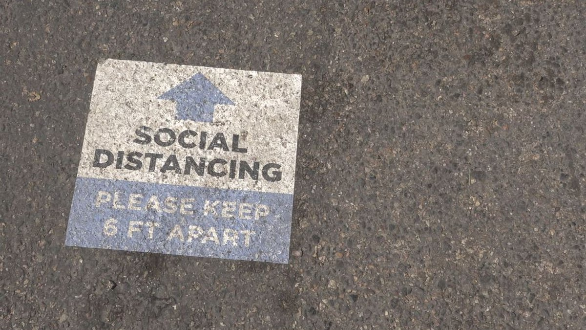 Social Distancing sign on the grounds of the Wyoming State Fair