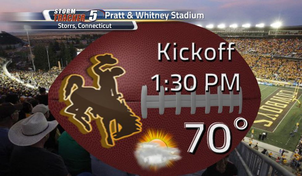 UW's football team will travel to Connecticut. Kickoff temperature will be 70 degrees with a...