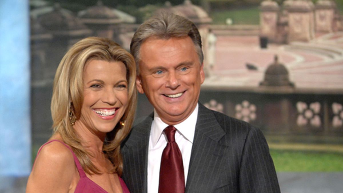 "Co-host Vanna White and host Pat Sajak make an appearance at Radio City Music Hall for a taping of celebrity week on ""Wheel of Fortune,"" hosted by People Magazine. (AP Photo/Peter Kramer)"