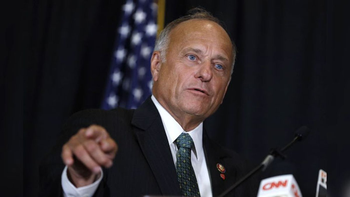 In this Aug. 23, 2019, file photo, Rep. Steve King, R-Iowa, speaks during a news conference in...