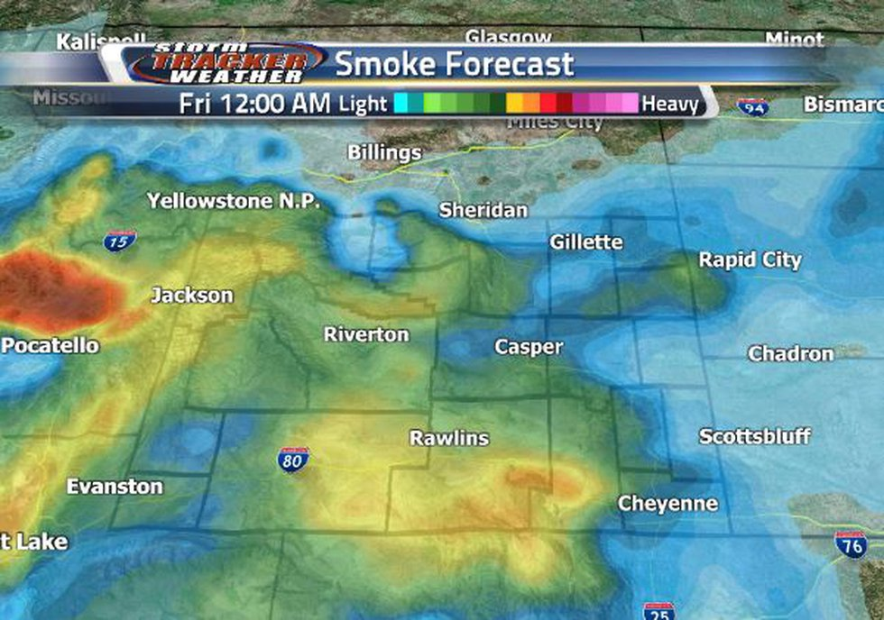 Moderately heavy smoke will make its way into the southeast before pushing back west.