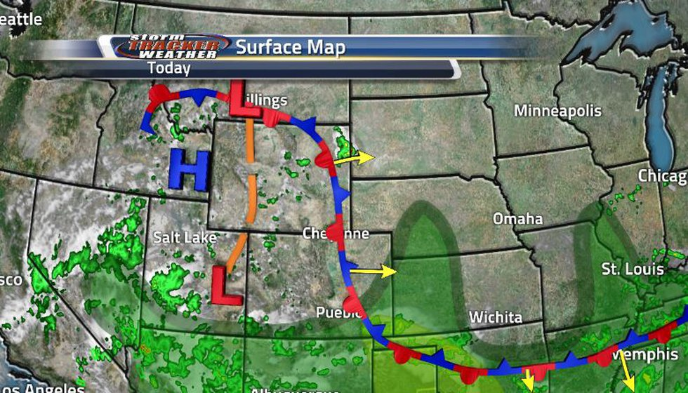 Another stationary front is sitting over top of us and will begin moving out east tomorrow....
