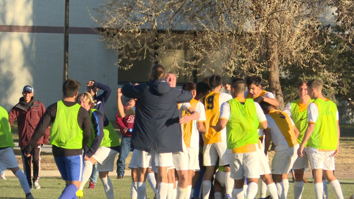 LCCC's men's soccer celebrates first North Region District win, beating Marshalltown, 1-0 (4-3 shootout).