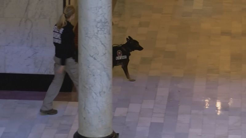 Wyoming State Capitol heightening security.