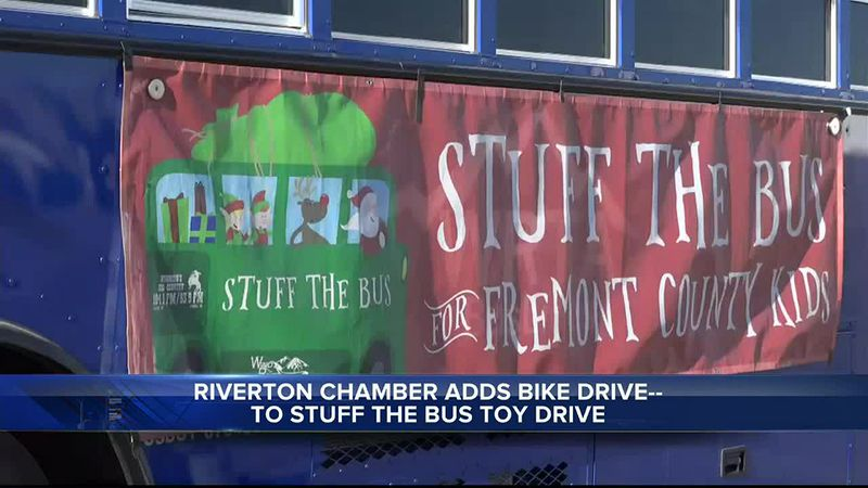 """WRTA bus for """"Stuff the Bus"""" toy and bike drive in Riverton, WY"""