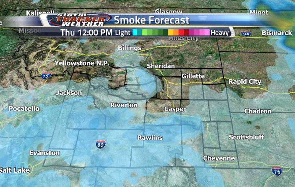 Smoke will be heaviest in the southwestern corner tomorrow.