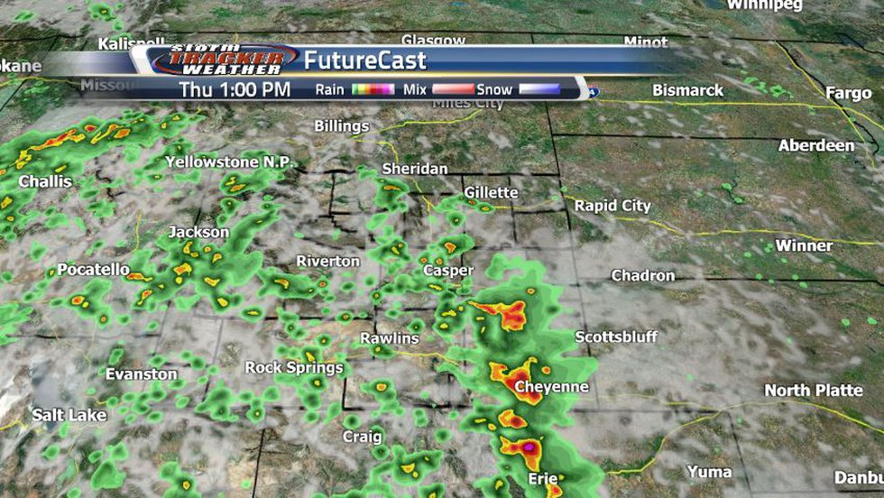 By early afternoon, the Wyoming atmosphere will be primed to drop lots of showers and storms...