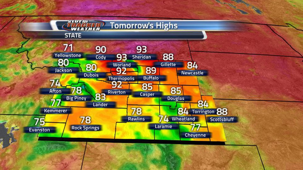 Southern Wyoming will stay cool due to lots of cloud cover and scattered storms while the north...