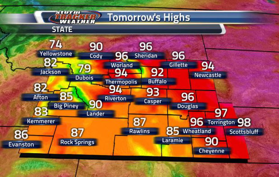Temperatures are going to heat back up tomorrow, with the highest temperatures being in the...