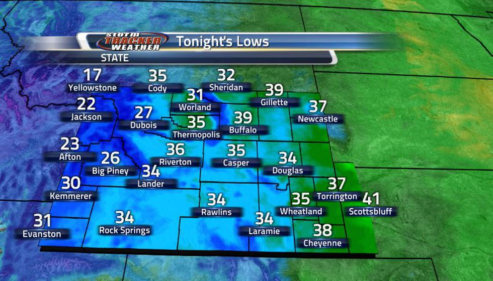 The lows this time around will take place closer to around 11p - midnight due to the front...