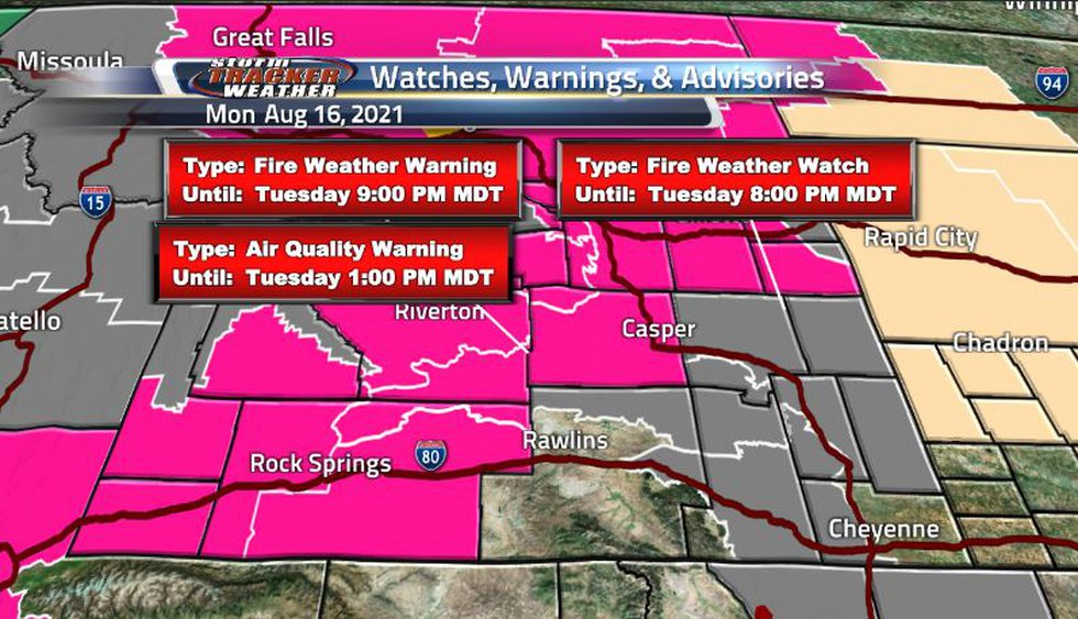 Lots of fire weather and air quality warnings covering the state due to very hot and very dry...