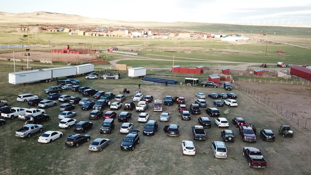 Cars getting ready for the drive-in movie at the Terry Bison Ranch