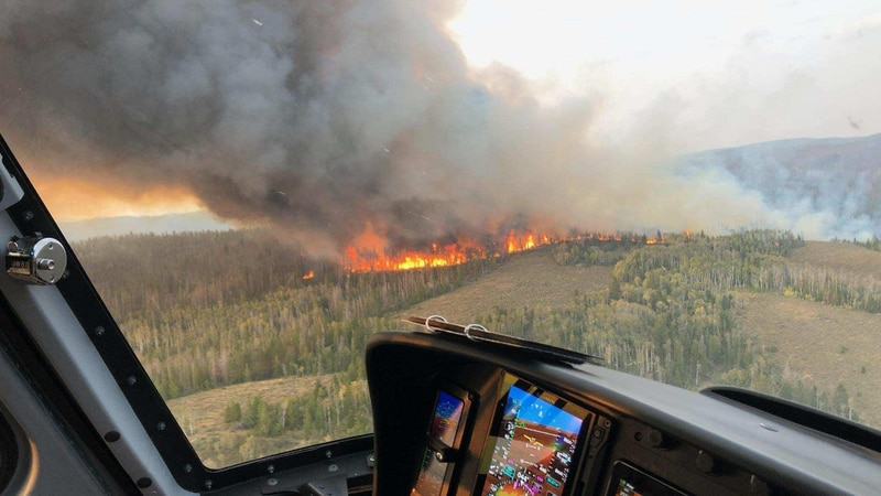 Mullen Fire 8 miles west of Rob Roy Reservoir