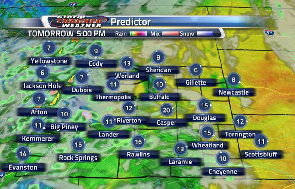 Clouds and showers will continue pushing through the state tomorrow.