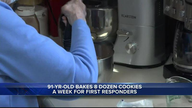 Ellie Urbigkit making cookies in her kitchen, Riverton, WY