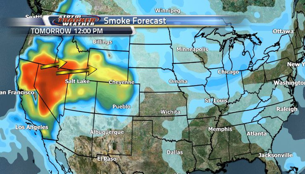 Starting tomorrow, we're going to be seeing a large, heavy smoke pocket from the west moving in...