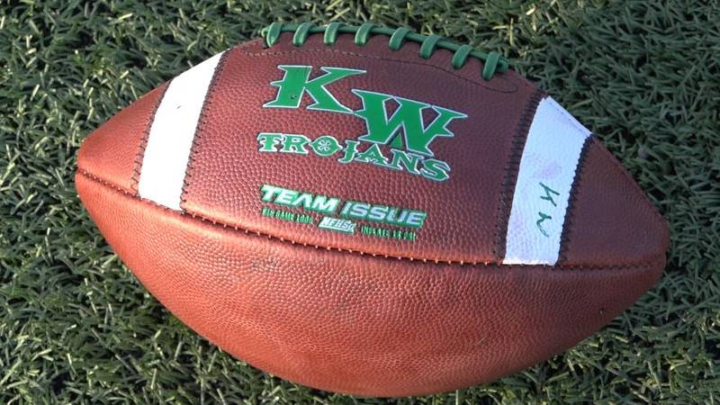 A Kelly Walsh team football sits on the field at practice on August 9, 2021.