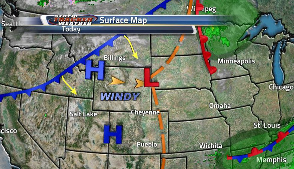 While we are stuck with windy conditions, there is another cold front trying to make it's way...