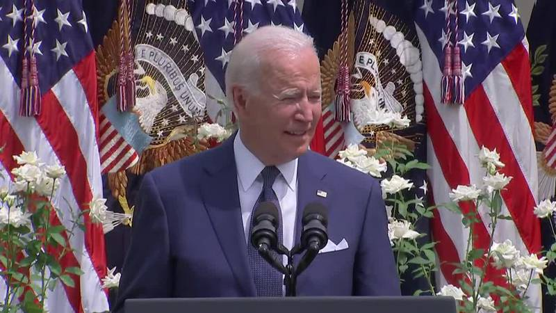 President Joe Biden praises the bipartisanship that led to the passage of the Americans with...
