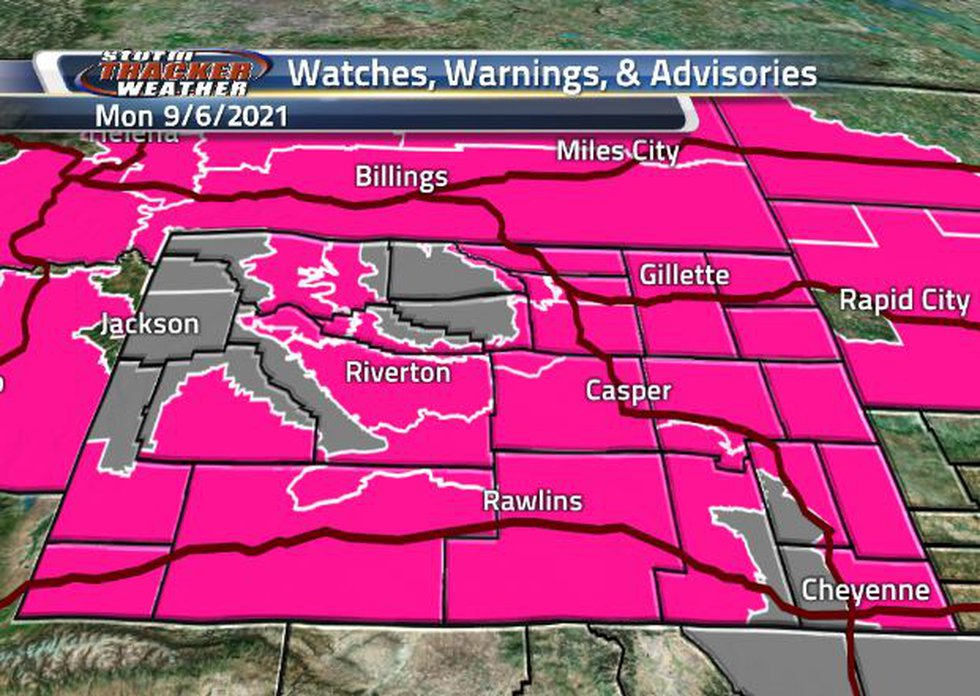 There is a broad area of Fire Weather Warnings today, as well as pockets of Air Quality Warnings.