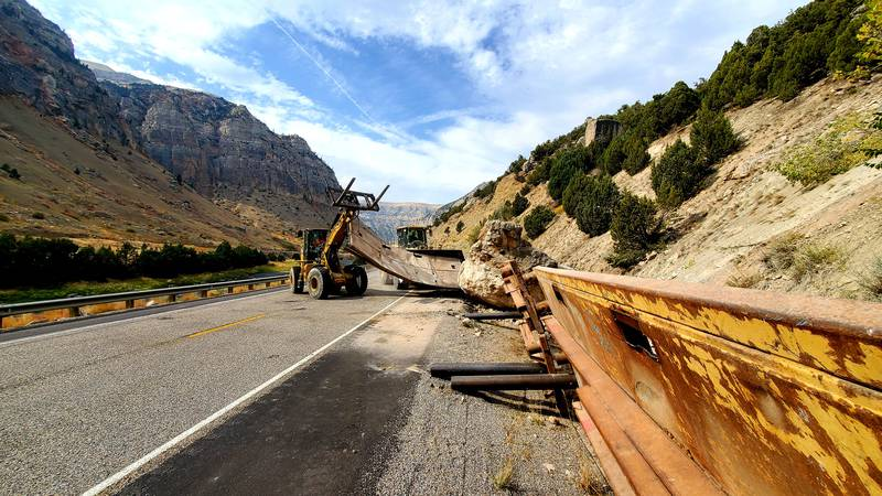 Pictured: an estimated 500,000-pound rock removed by the rock scaling crew on Tuesday, Sept....