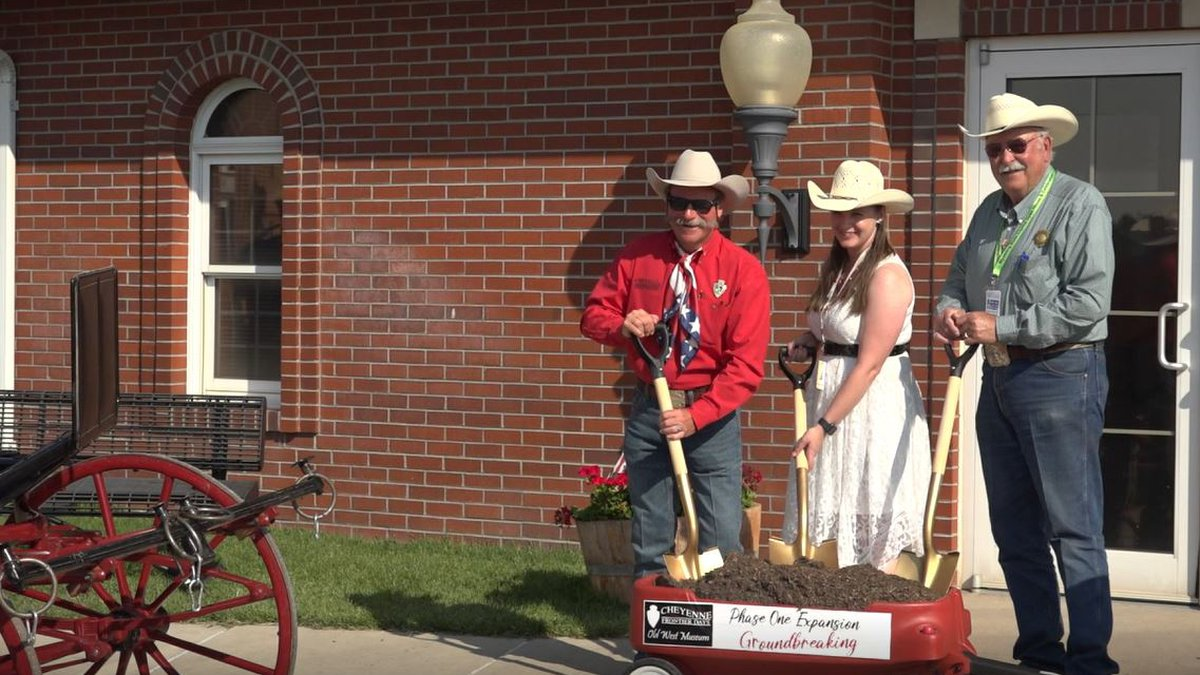 Representatives of the CFD Old West Museum break ground on phase one of its expansion project...