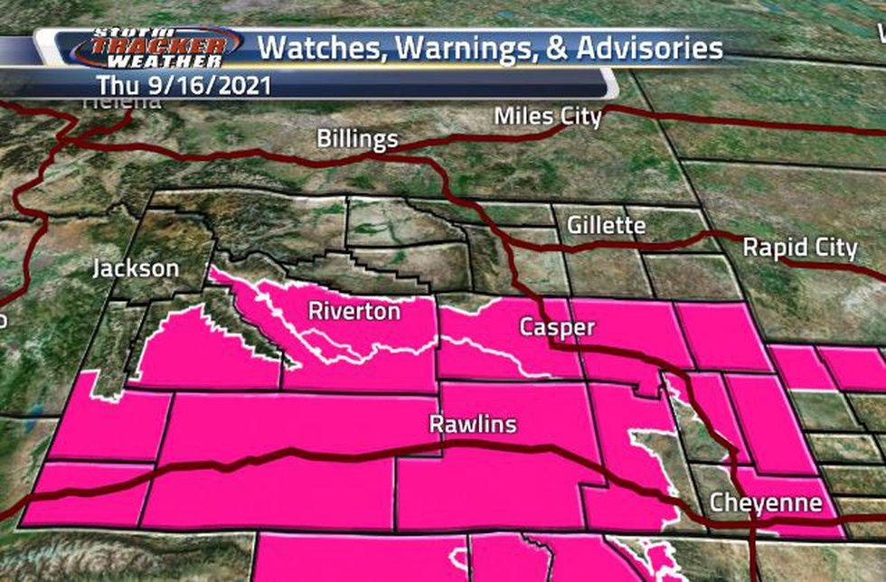 There is a broad area of Fire Weather Warning across the southern half of the state.