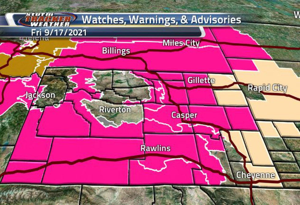 There is a broad area of Fire Weather Warning across the state. Along the eastern border, there...