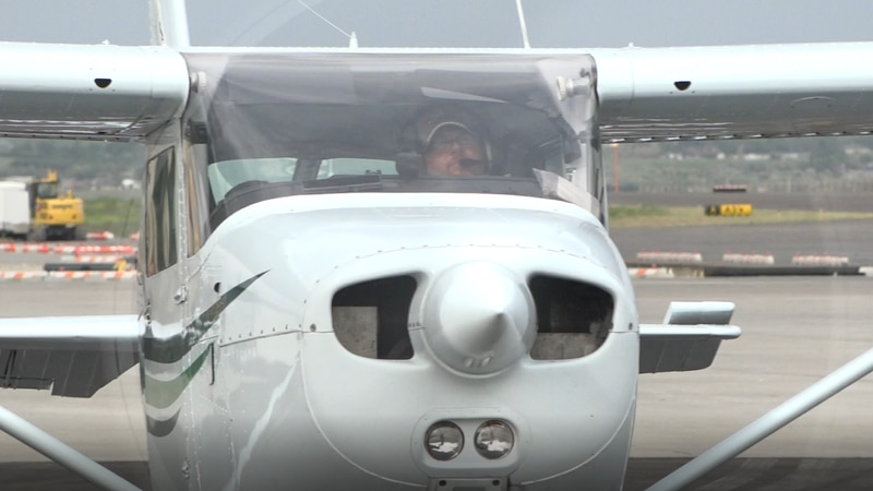 A pilot gets ready for take off on June 19
