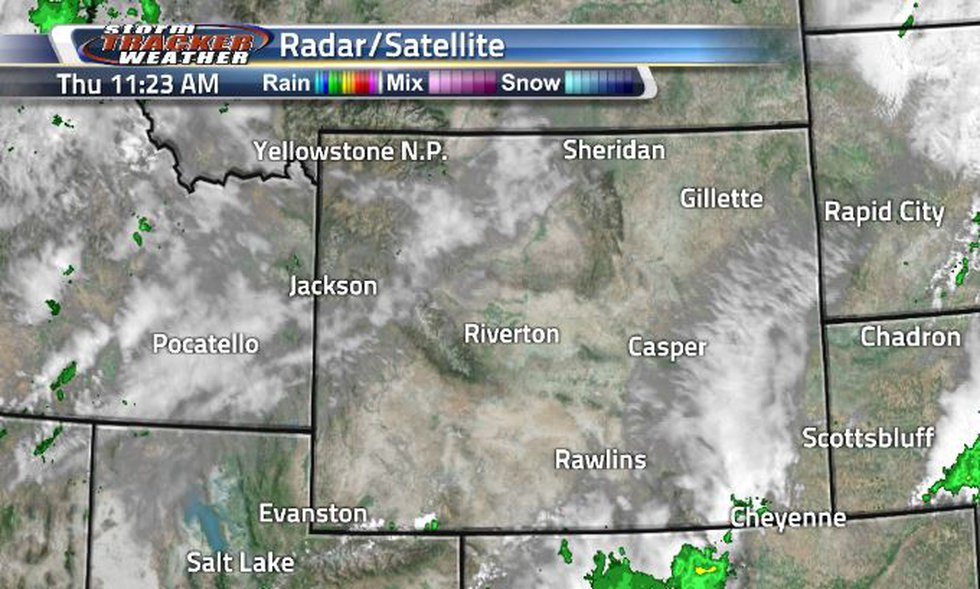 Lots of clouds can be seen making there way towards the southeast corner of Wyoming.