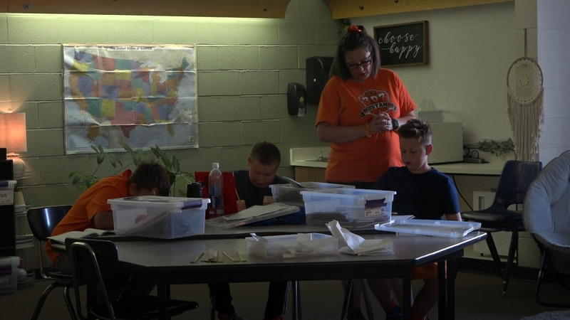 Jennifer Wistisen's science students working on the scientific method on Sept. 9