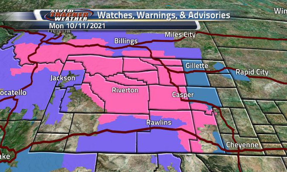 Wyoming is covered in winter related watches, warnings, and advisories today.