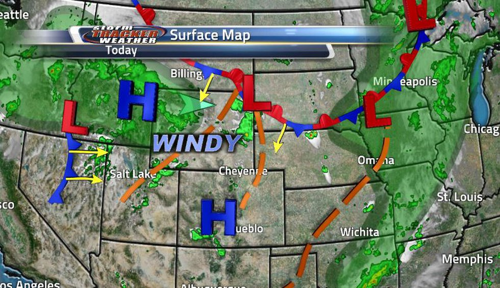 The stationary front to the north is fueling the storms while the cold front out west will move...