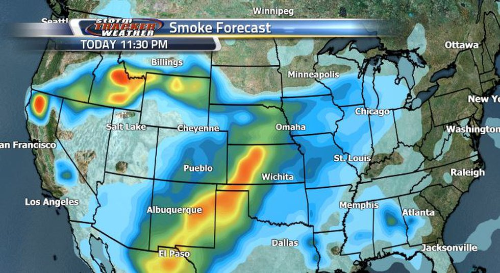 The smoke forecast shows that smoke will be making a little bit of a retreat and the heavier...