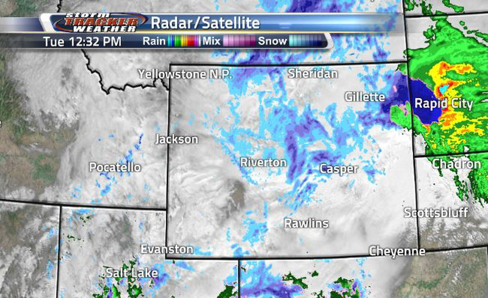 Lots of area being covered by clouds, rain, and snow today.