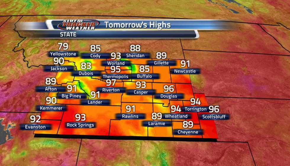Temperatures remain on the warm side going into tomorrow, just not as hot as last week...