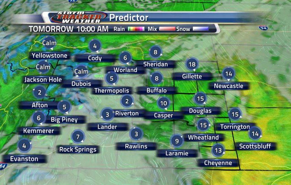 Tomorrow, heavier clouds will move into the southeastern corner.